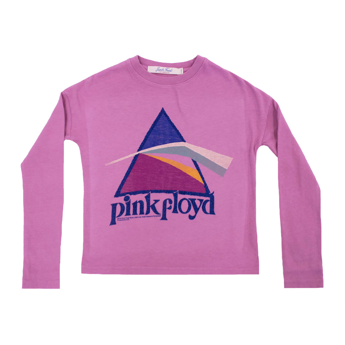 Junk Food Pink Long Sleeve Tee with Pink Floyd Logo Print