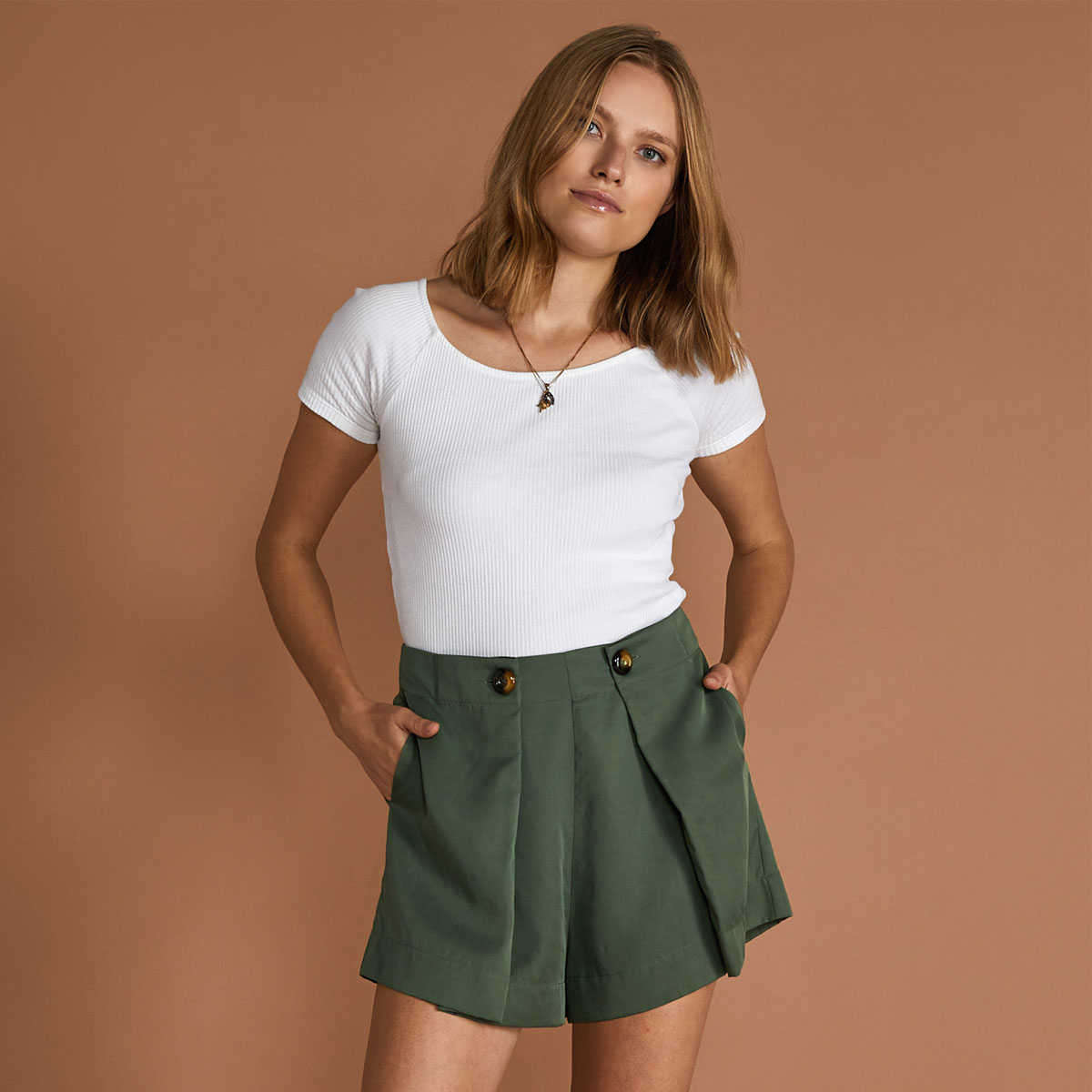 Sancia Eveline Short in Panama Green on woman
