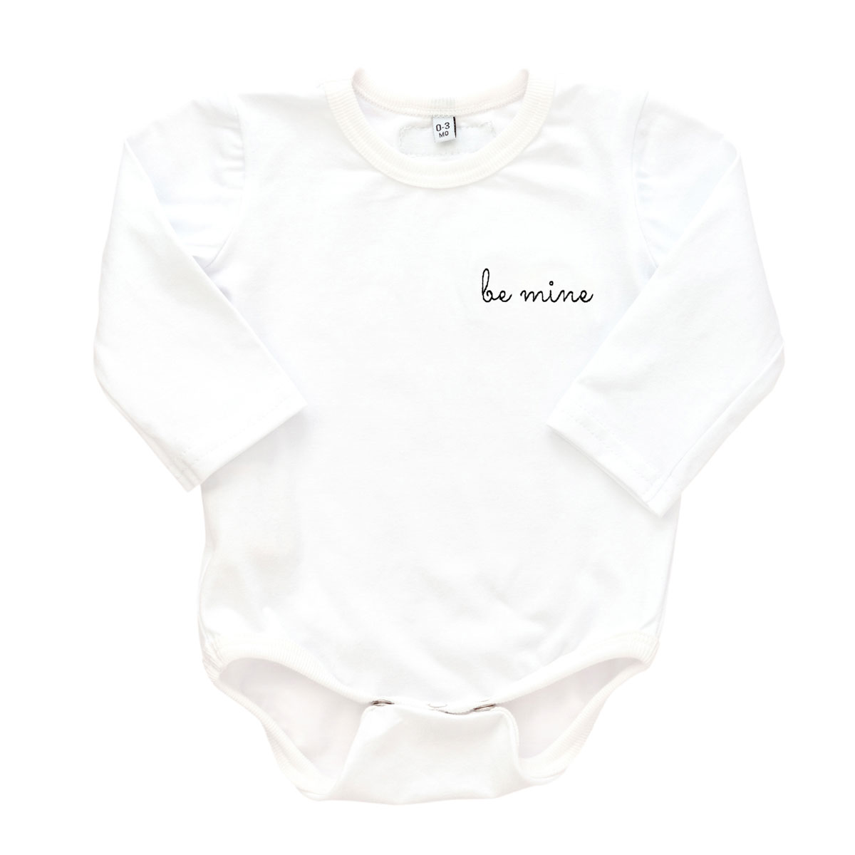 Early Riser Long Sleeve Bodysuit in White with Be Mine Embroidery