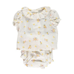 Amaia Short Sleeve Top & Matching Bloomer Dahlia Set in White with yellow flowers