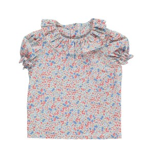 Amaia Short Sleeve Amelia Shirt with ruffled collar in multi colored floral