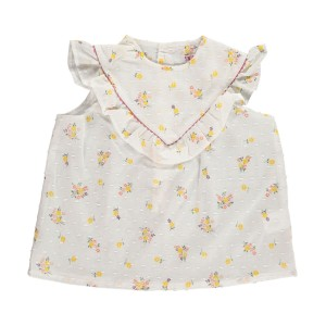 Amaia Sleeveless Isabelle Shirt in white with yellow flowers