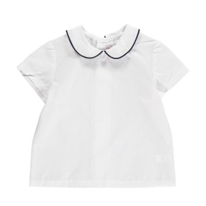 Amaia Short Sleeve Mallard Shirt in white with blue piping on collar