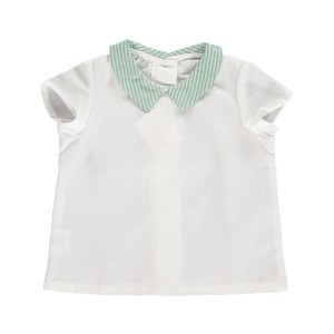 Amaia Short Sleeve Mallard Shirt in white with green stripe Peter Pan collar