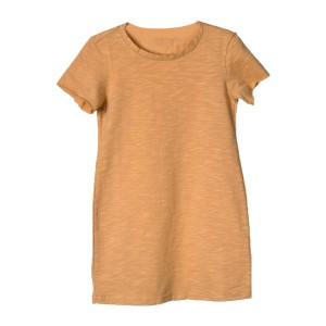 Little Hedonist Organic Cotton Short Sleeve Miep Dress in Sand Color