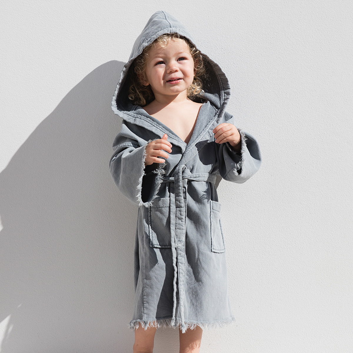 The Beach People Robe in Ash on kid