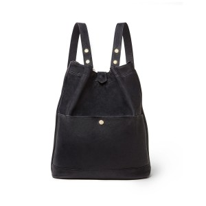 Josefina Leather Backpack Diaper Bag in Black