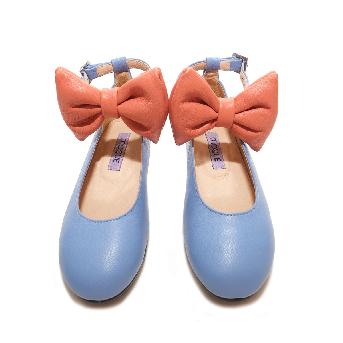 Moque Aurora Bow Flats Shoe in Blue & Coral