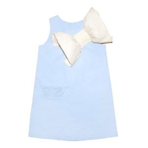 Moque Reese Dress in Blue with Oversized chest bow in White