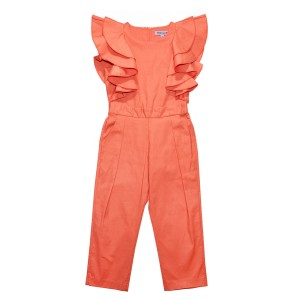 Moque Ruffled Sleeve Jumpsuit in Coral