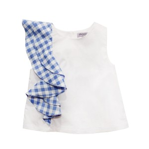 Moque Nania Sleeveless Top in White with one-shoulder ruffle detail in Blue Check