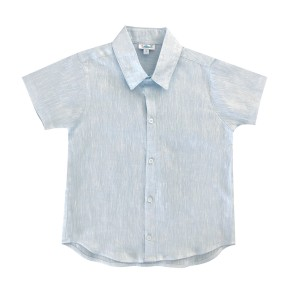 Baliene Linen Short Sleeve Dress Shirt in Blue