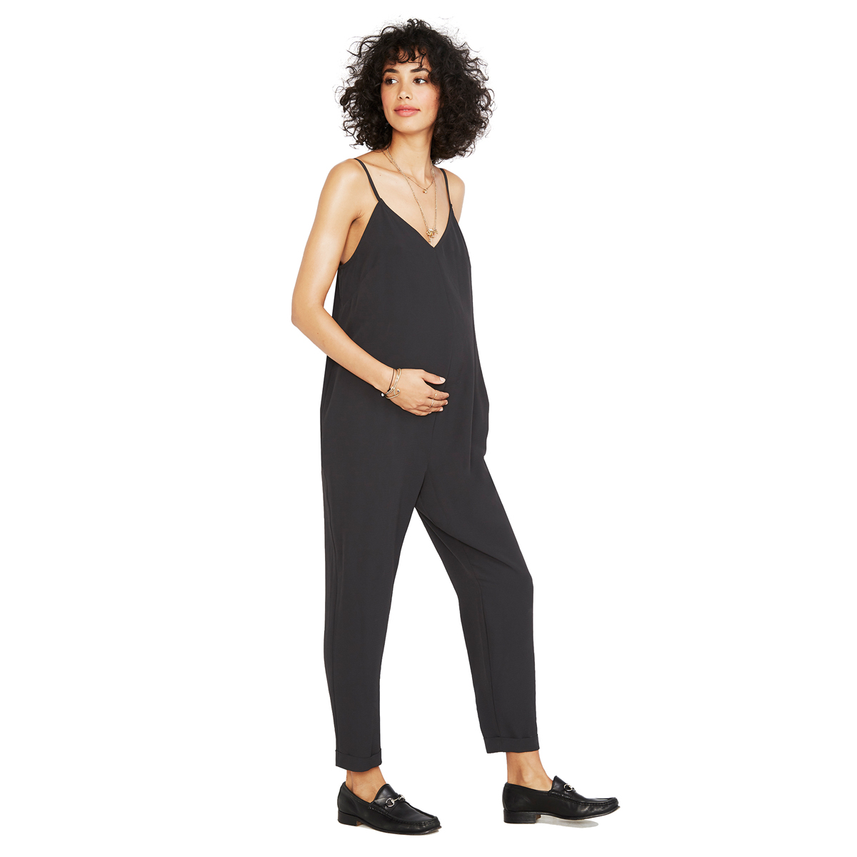 Hatch Collection Georgie Sleeveless Jumper in black on pregnant woman