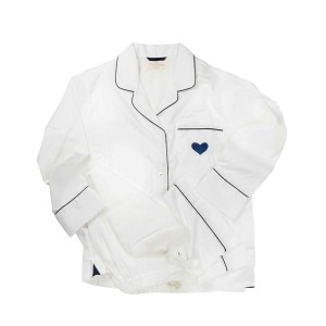 Charmajesty Kid's Woven PJ Set in White with Navy Piping and embroidered Heart on pocket