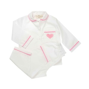 Charmajesty Kid's Woven PJ Set in White with Pink Piping and embroidered Heart on pocket