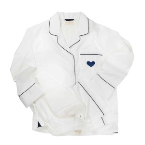 Charmajesty Women's Woven PJ Set in White with Navy Piping and embroidered Heart on pocket