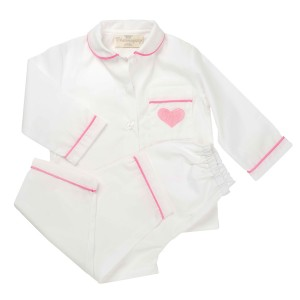 Charmajesty Women's Woven PJ Set in White with Pink Piping and embroidered Heart on pocket