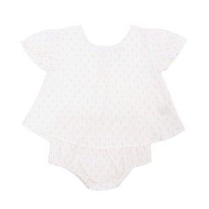 Madras Made Cotton Top & bloomer set in Hema White with pink dots