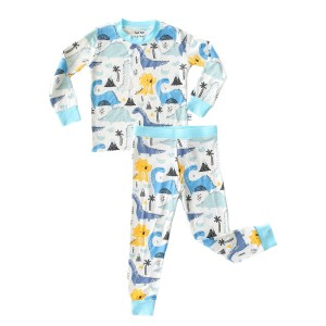 Little Sleepies Bamboo PJ Set in Blue Dinosaur Print