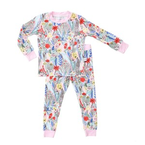 Little Sleepies Bamboo PJ Set in Pink & Red Floral