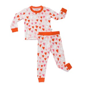 Little Sleepies Bamboo PJ Set in Pink & Red Hearts