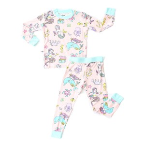 Little Sleepies Bamboo PJ Set in Pink & Blue Mermaid Print
