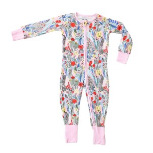 Little Sleepies Bamboo PJ Sleeper in Pink & Red Floral Print