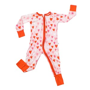 Little Sleepies Bamboo PJ Sleeper in Pink & Red Hearts Print