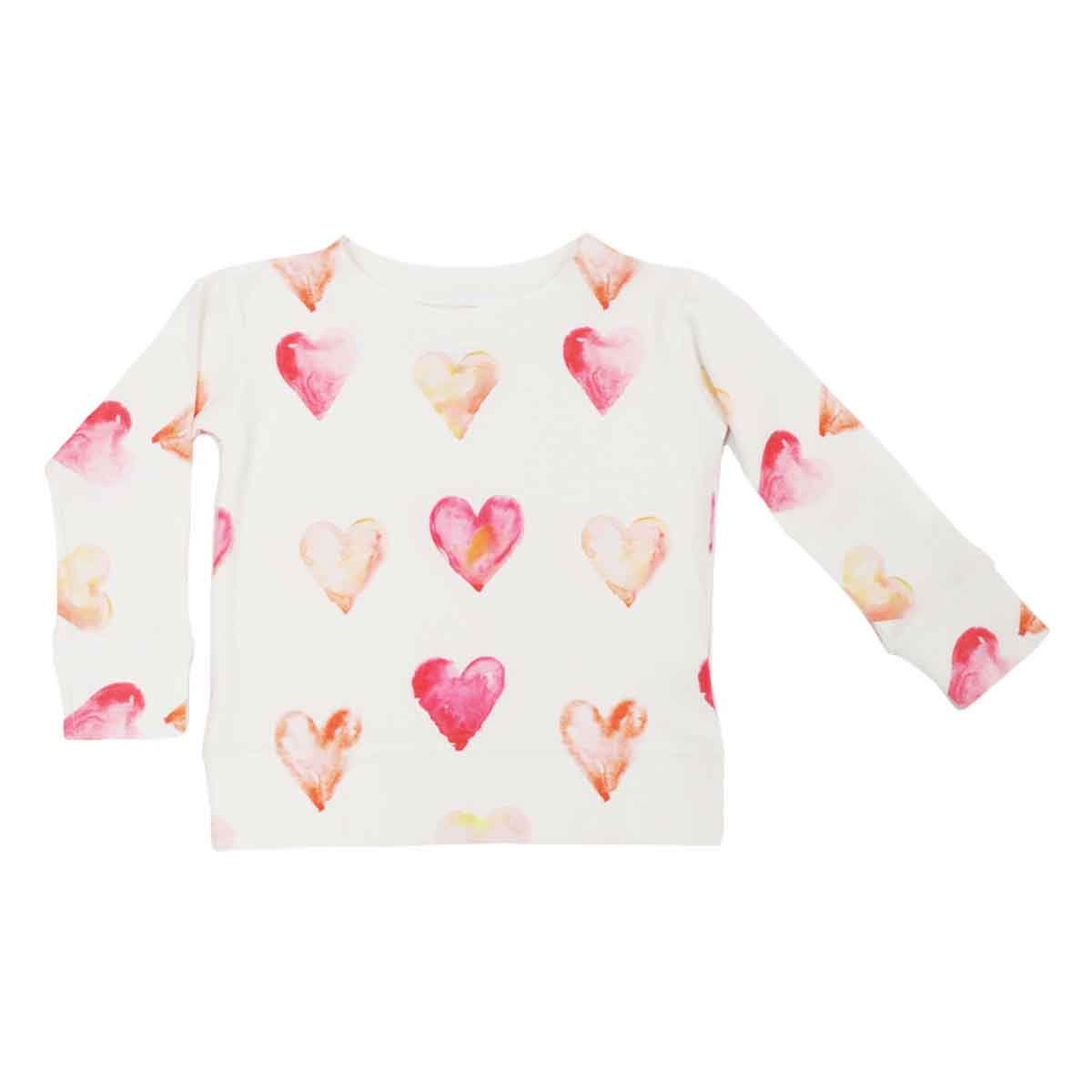 Brokedown Kids Sweatshirt in White with Pink Hearts
