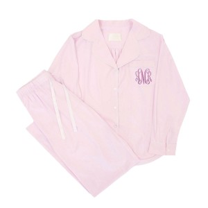 Piu Adult Pajama Set in Pink with Pocket Monogram