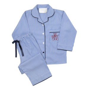 PIU Adult Pajama Set in Blue Stripe with Pocket Monogram