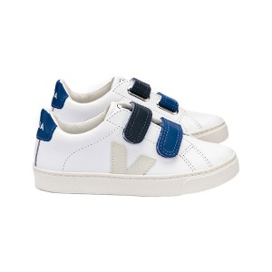 Veja Esplar Small Velcro Leather Sneaker in Extra White & Pierre Blue