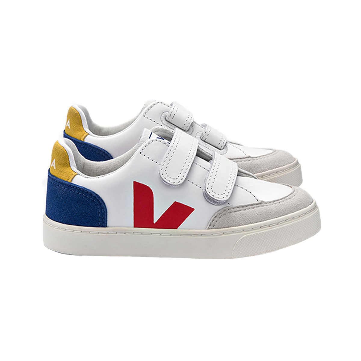 Veja V12 Small Velcro Leather Sneaker in Indigo