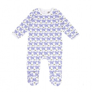Brai Bodysuit PJ in White with Blue Tigers