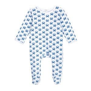 Brai Organic Cotton Longsleeve bodysuit PJ in Blue Crab Print