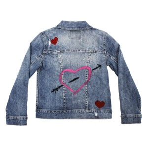 Levi's Denim Trucker Jacket with hand-painted heart and arrow