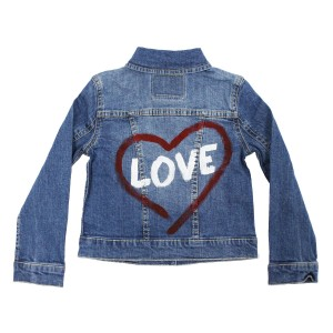 Levi's Denim Trucker Jacket with hand-painted heart and love