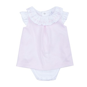 Laranjinha Dress Bodysuit in Ruffled Collar with Zig Zag Embroidery in Pink