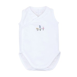 Laranjinha Sleeveless Bodysuit in White with Floral Embroidery
