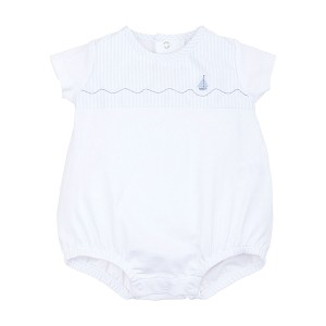 Laranjinha Short Sleeve Bubble in White with Blue Stripe Neckline and Boat detail