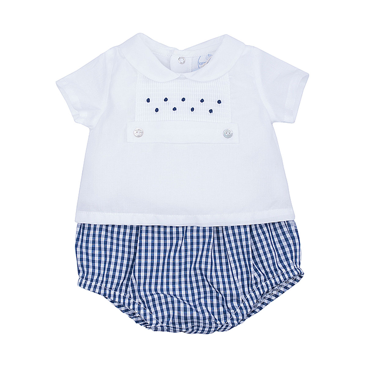 Laranjinha Short Sleeve 2-in-1 Set with White Top and Blue Checkered Bloomer in Navy