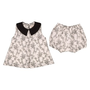 Carbon Soldier Sleeveless Dress & Bloomer set in Six Tackle Ivory & Black floral design