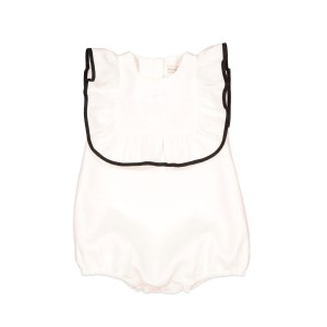 Carbon Soldier Sleeveless Ankle Tap Puffle Romper in Ivory with Black Piping