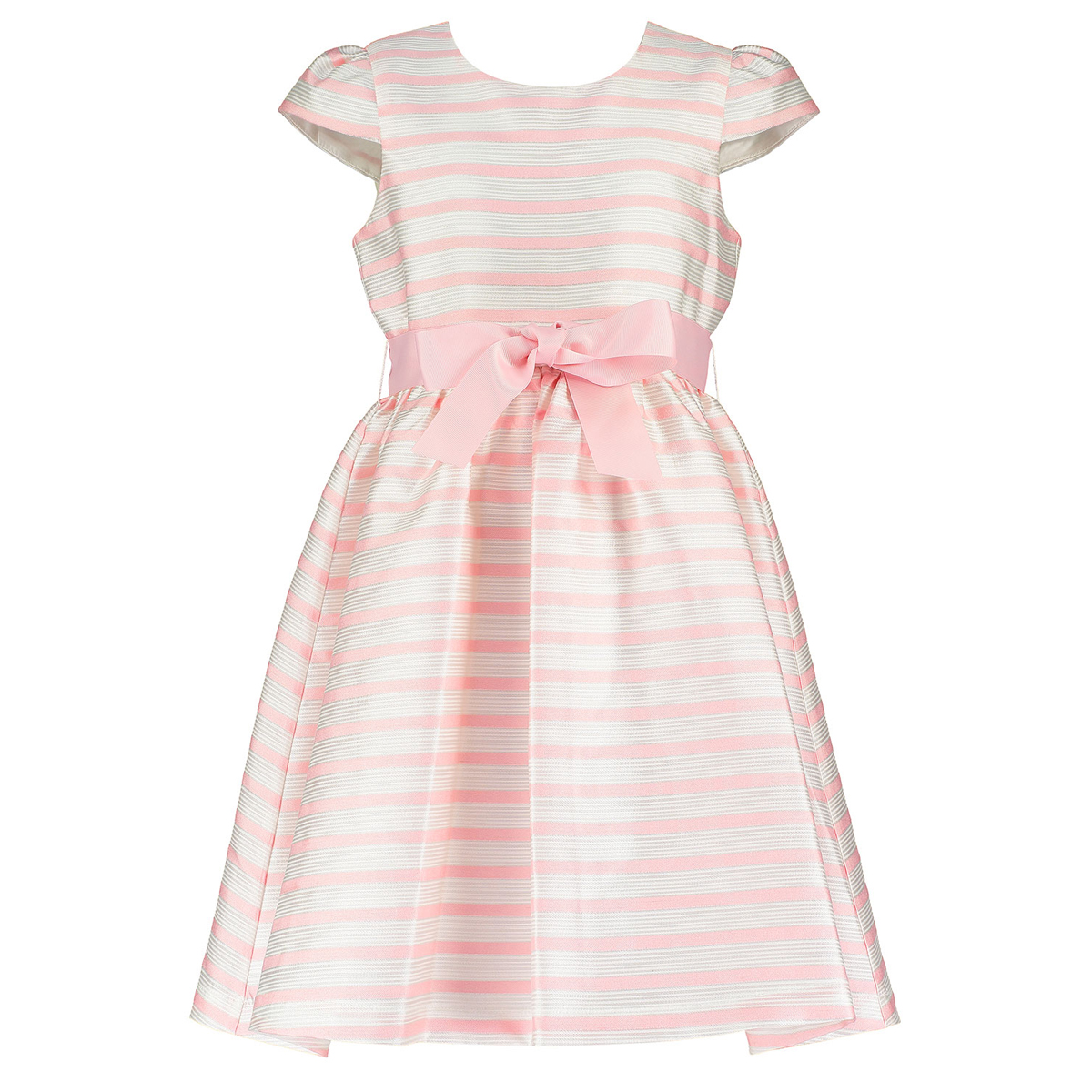 Holly Hastie Dress in Pink White Stripe Jacquard