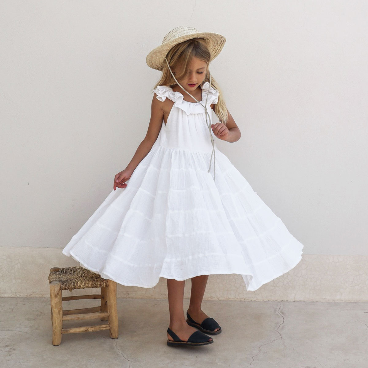 Yoli & Otis Sleeveless Launa Dress in White on girl