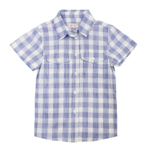 Morley Short Sleeve Hank Hiro Shirt in Blue Gingham