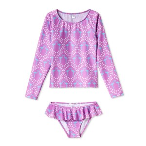 Stella Cove Girls Rashguard Set in Pink with Blue Flamingos print