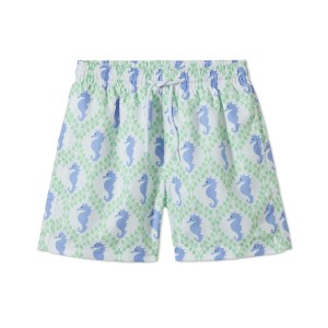 Stella Cove Swim Trunks in Green with Blue Seahorses