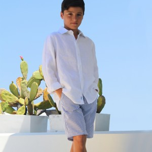 Baliene Summer Linen Short for boys in Blue Stripes