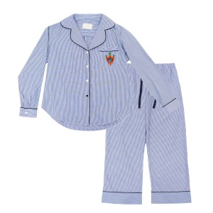 Piu Kids Pajama Set in Blue & White Stripes with Carrot Monogram